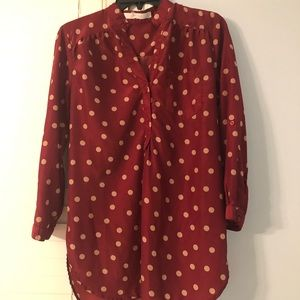 Long sleeved burgundy polka dot shirt